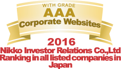 WITH GRADE AAA Corporate Websites 2016 Nikko Investor Relations Co.,Ltd. Ranking in all listed companies in Japan